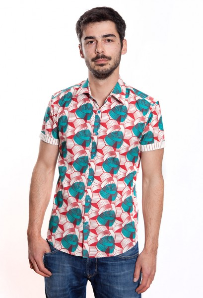 Baïsap - Wax shirt, short sleeve - African shirt for men