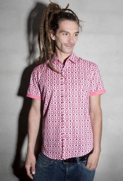 Baïsap - Pink dress shirt short sleeves - Tagada - Mens pink dress shirts