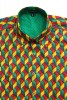 Baïsap - Harlequin shirt, short sleeve - Mens patterned shirts, light cotton - #1648