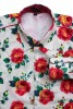 Baïsap - Roses button up shirt for men - Roses print on white light cotton cambric - #1714