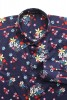 Baïsap - Navy blue floral shirt - Navy flowers - Floral pattern on navy cotton - #1788