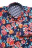 Baïsap - Blue floral shirt - Peony - Big floral pattern on dark blue background - #1781