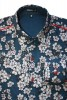 Baïsap - Cherry blossom shirt - Blue Blossom - Blue floral shirt for men, light cotton - #1668
