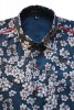 Baïsap - Men's floral short sleeve button up - Blue Blossom - Blue floral shirt for men, light cotton - #1671