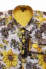 Baïsap - Yellow floral shirt - Buttercup - Kitsch floral shirt, light cotton cambric - #1764
