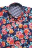 Baïsap - Vintage short sleeve shirts - Peony - Big floral pattern on dark blue background - #1785