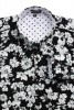 Baïsap - Mens black floral shirt - Gray Flowers - Big flowers print on black viscose - #1836