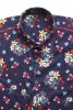 Baïsap - Blue short sleeve shirt - Navy flowers - Floral pattern on navy cotton - #1792