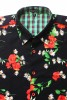 Baïsap - Poppies shirt short sleeve - Red and black shirt for men - #2420