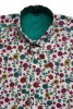 Baïsap - Mens floral print short sleeve shirts - Cornflower - Couloured flowers printed on off white light cotton - #1749