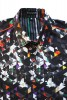 Baïsap - Printed short sleeve shirts - Dark Triangles - Graphic button up shirts, light cotton - #1656