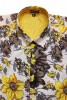 Baïsap - Yellow floral shirt, short sleeve - Buttercup - Vintage floral shirt, light cotton cambric - #1773