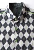 Baïsap - Argyle shirt - Jacquard - Graphic dress shirts, gray checks - #2373