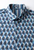 Baïsap - Geometric print blouse - Blue and gray patterned women shirt - #2547