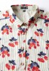 Baïsap - Cherry print blouse - Blue and red blouse - #2471