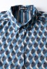Baïsap - Mens printed short sleeve shirts - Teal - Teal and steel cube mens printed shirts - #1934