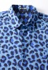 Baïsap - Blue Leopard Shirt - short-sleeved - Fitted short-sleeved shirt for men - #1943